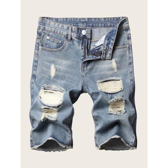 Men's Distressed Raw Hem Demin Shorts 💙